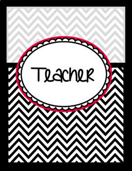 binder covers black white red chevron editable by from the pond