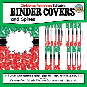 EDITABLE Binder Covers and Spines {Reindeer Themed}