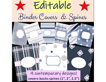 binder covers spine inserts editable contemporary blue disc