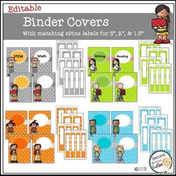 Binder Covers & Spines...Editable (Melonheadz art)