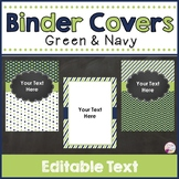 Binder Covers & Spines Green & Navy (Editable)