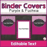 Binder Covers & Spines Purple & Fuchsia (Editable)