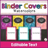 Binder Covers & Spines Watercolors (Editable)