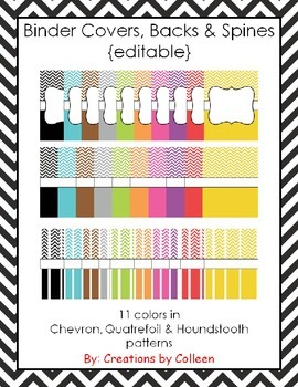 Binder Covers, Backs & Spines {editable}