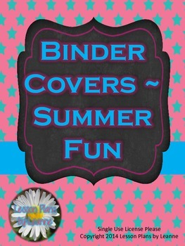 Binder Covers - Summer Fun colors  Back to School