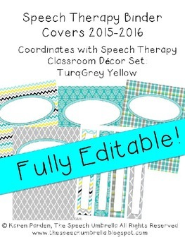 Binder Covers: Turqoise Grey Yellow Editable