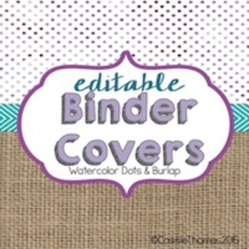 Binder Covers {Water colors and burlap}