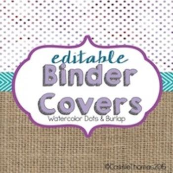 Binder Covers {Water colors and burlap}