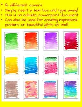 Binder Covers - Watercolor Theme - EDITABLE