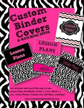 Binder Covers - Zebra, Pink, Black, Chevron