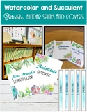 Binder Covers and Spine Labels-Succulent and Watercolor