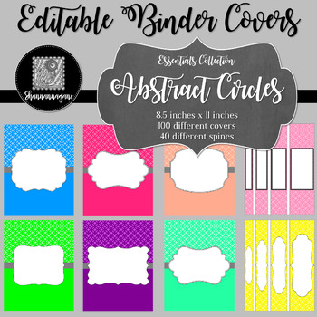 Binder Covers and Spines - Abstract Circles | Editable PowerPoint