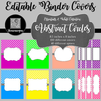 Binder Covers and Spines - Abstract Circles and White | Editable PowerPoint