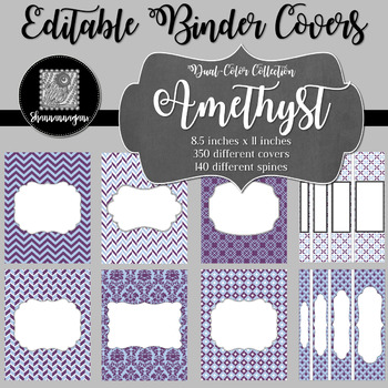 Binder Covers and Spines - Amethyst | Editable PowerPoint