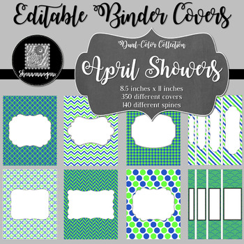 Binder Covers and Spines - April Showers | Editable PowerPoint