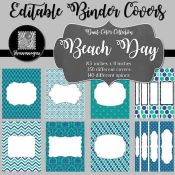 Binder/Document Covers & Spines - Dual-Color: Beach Day