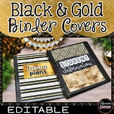 Binder Covers and Spines-Black and Gold Classroom Decor