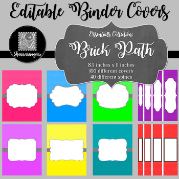 Binder Covers and Spines - Brick Path | Editable PowerPoint