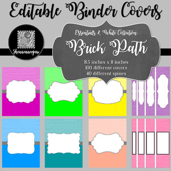 Binder Covers and Spines - Brick Path and White   Editable PowerPoint