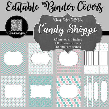 Binder Covers and Spines - Candy Shop | Editable PowerPoint
