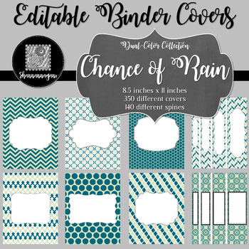 Binder Covers and Spines - Chance of Rain | Editable PowerPoint