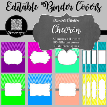 Binder Covers and Spines - Chevron   Editable PowerPoint