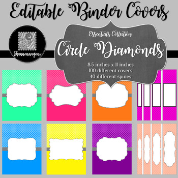 Binder Covers and Spines - Circle Diamonds   Editable PowerPoint