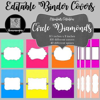 Binder/Document Covers & Spines - Essentials: Circle Diamonds