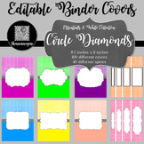 Binder Covers and Spines - Circle Diamonds and White | Editable PowerPoint