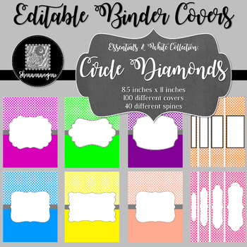 Binder/Document Covers & Spines - Essentials & White: Circle Diamonds