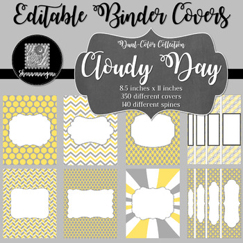 Binder Covers and Spines - Cloudy Day | Editable PowerPoint