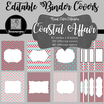 Binder Covers and Spines - Coastal Affair | Editable PowerPoint