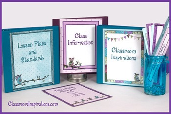 Binder Covers and Spines – Coordinates with Book Smart Owls Classroom Theme