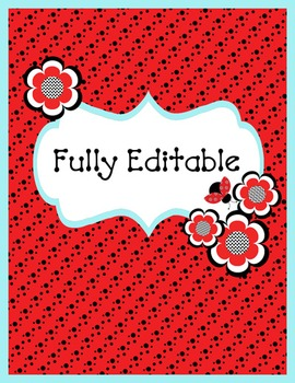 Binder Covers and Spines - Coordinates with Ladybugs and Dots Theme