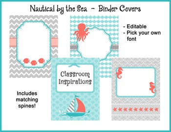 Binder Covers and Spines – Coordinates with Nautical by the Sea Classroom Theme