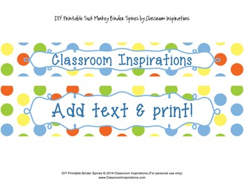 Binder Covers and Spines – Coordinates with Sock Monkey Classroom Theme