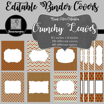 Binder Covers and Spines - Crunchy Leaves | Editable PowerPoint