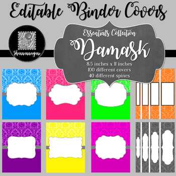 Binder Covers and Spines - Damask | Editable PowerPoint