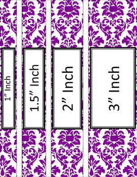 Binder Covers and Spines - Damask and White   Editable PowerPoint