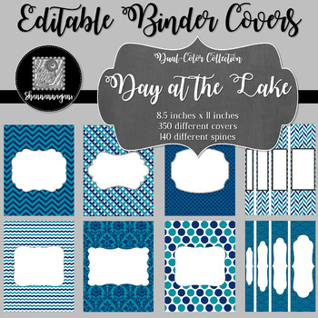 Binder Covers and Spines - Day at the Lake | Editable PowerPoint