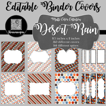 Binder Covers and Spines - Desert Rain | Editable PowerPoint