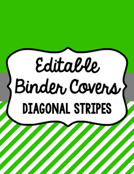 Binder Covers and Spines - Diagonal Stripes and White | Editable PowerPoint