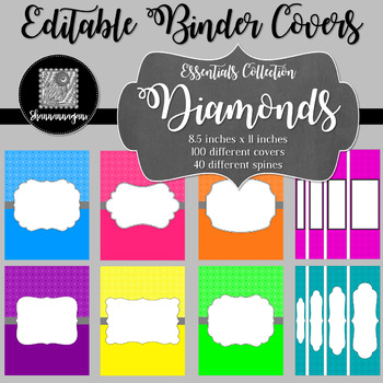 Binder Covers and Spines - Diamonds | Editable PowerPoint