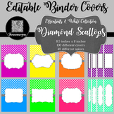 Binder Covers and Spines - Diamond Scallops and White | Editable PowerPoint