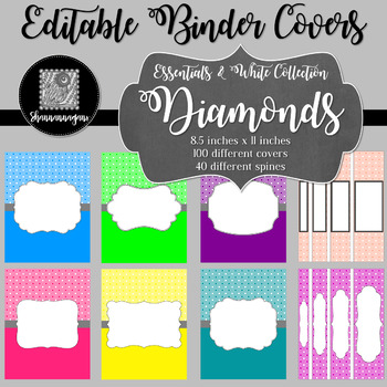 Binder Covers and Spines - Diamonds and White   Editable PowerPoint