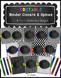 Binder Covers and Spines ~ EDITABLE! Black, White & Splash