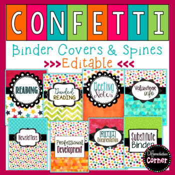 binder covers and spines editable by differentiation corner tpt