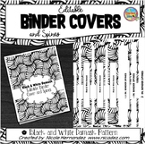 Editable Binder Covers and Spines   Black and White Damask Weave Pattern