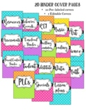 Binder Covers and Spines Bright Polka Dot & Stripes {Editable}