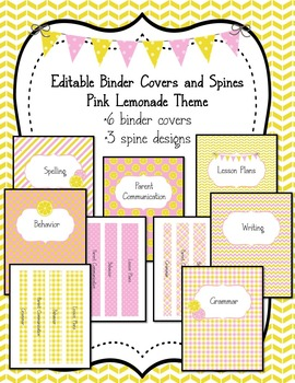 Binder Covers and Spines *Editable* Pink Lemonade Theme
